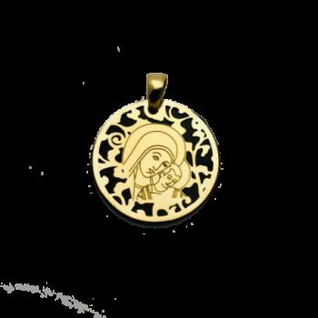 Medalla Virgen del Camino plata de ley y ónix®. 35mm